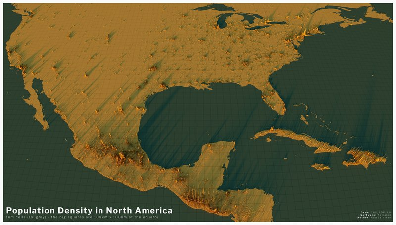 3d population density map of America