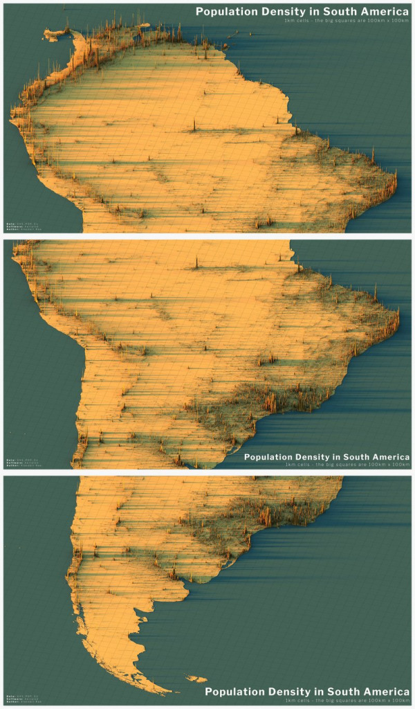 3D map: Population density in South America