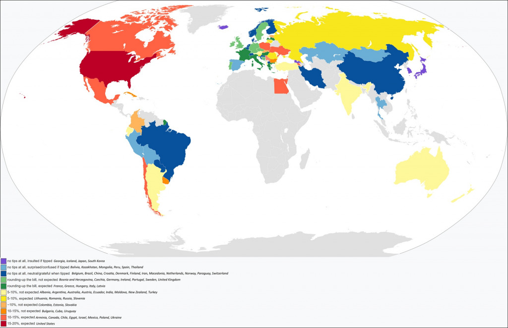 Tipping gratuity in the world mapped
