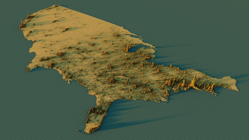 3D map of population density of the United States