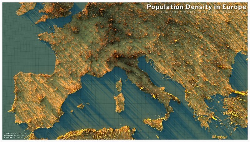 3D map of population density in Europe