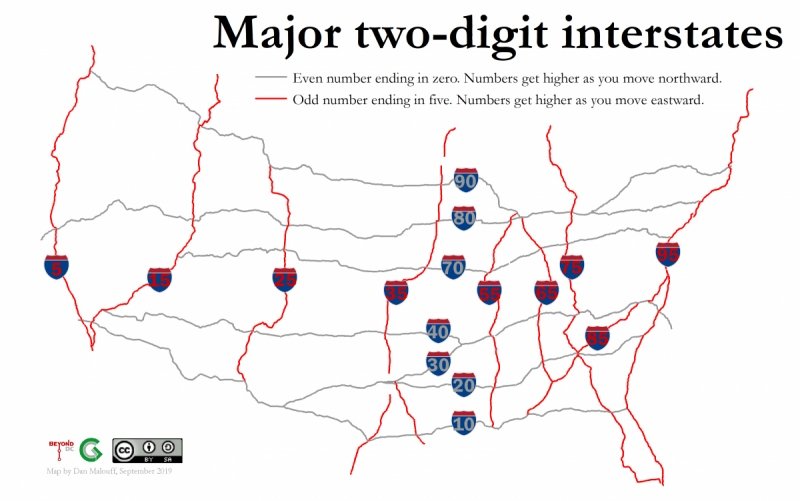 Mainline Interstate Highway Numbers