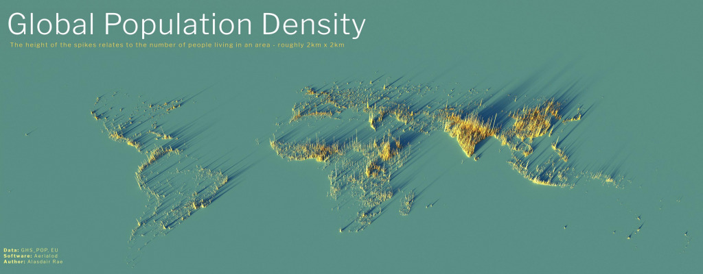 3d map of the global population density