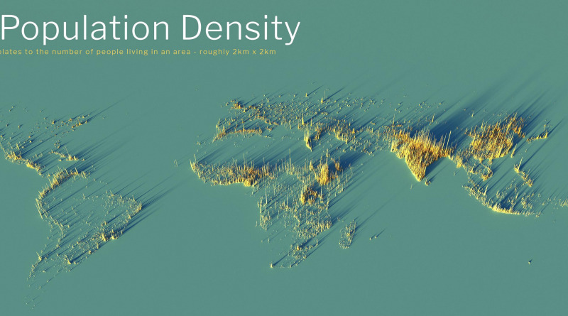 3d global population density