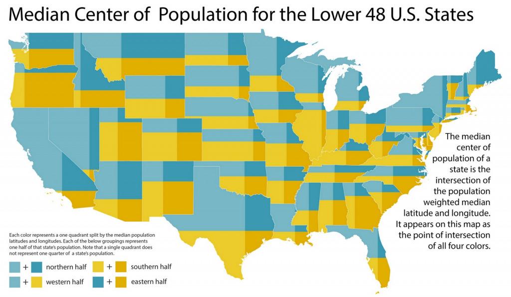 Map of the median center of U.S. population