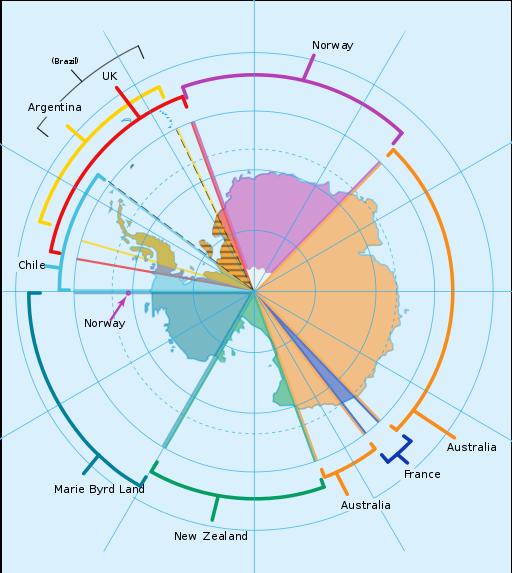 Map of territorial interests in Antarctica