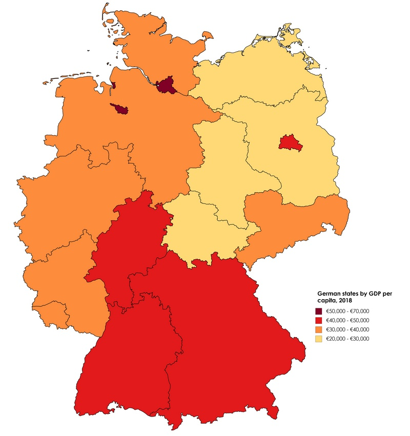 Eastern states of Germany have the lowest Gross Domestic Product per capita