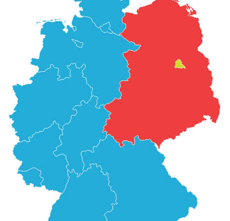 Maps of differences between East and West Germany