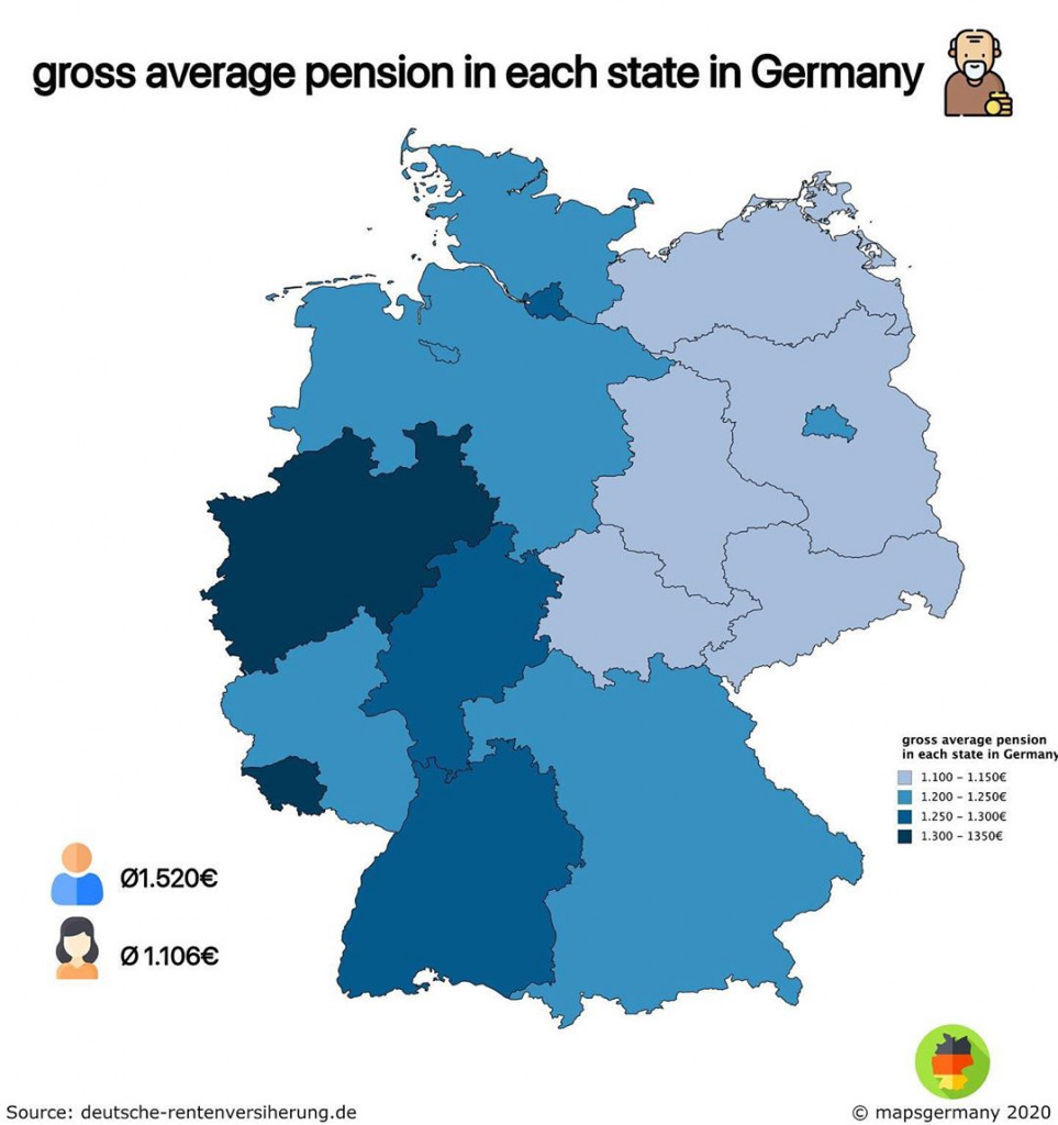 Map of gross average pension in each state in Germany