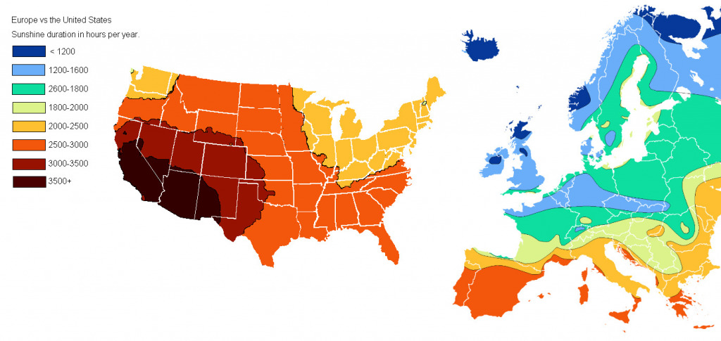 Map of the U.S. vs Europe sunshine duration in hours per year