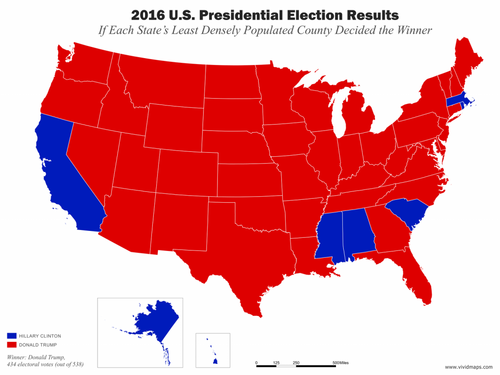 Map of election if each state's least densely populated county decided the winner