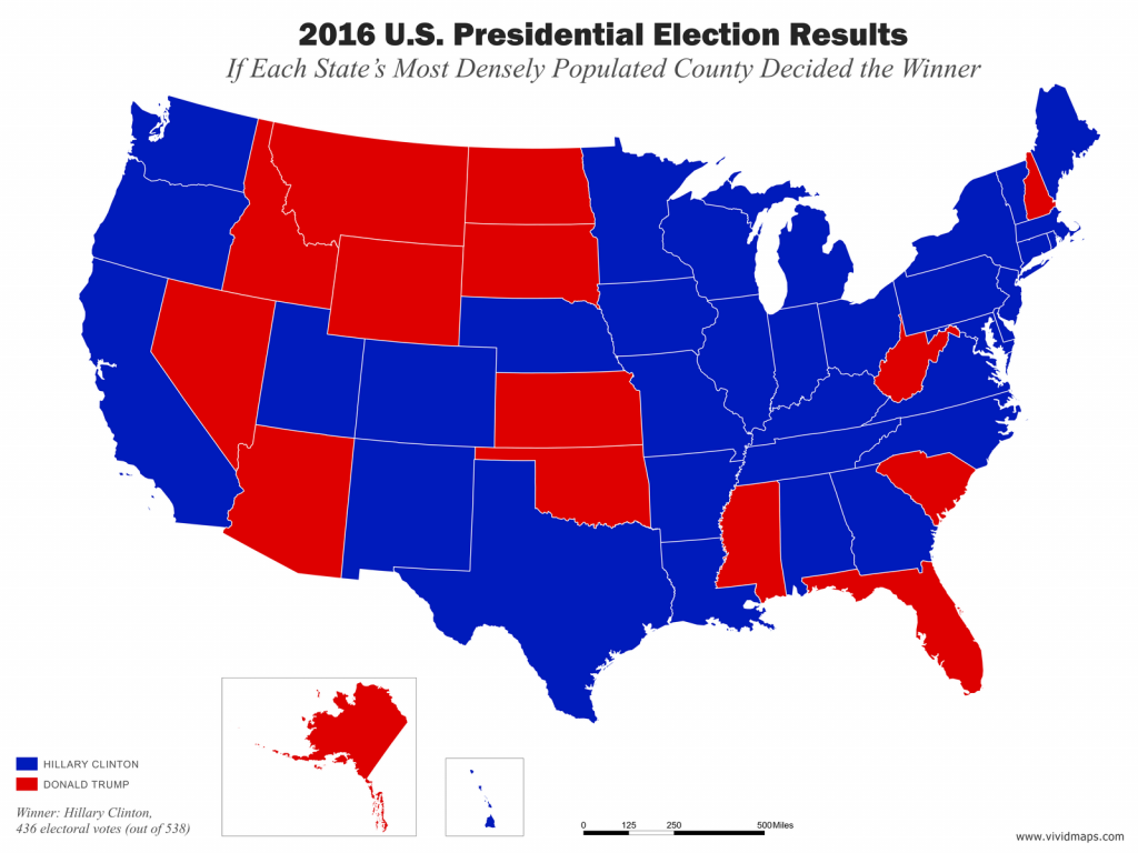 Map of election if each state's most densely populated county decided the winner