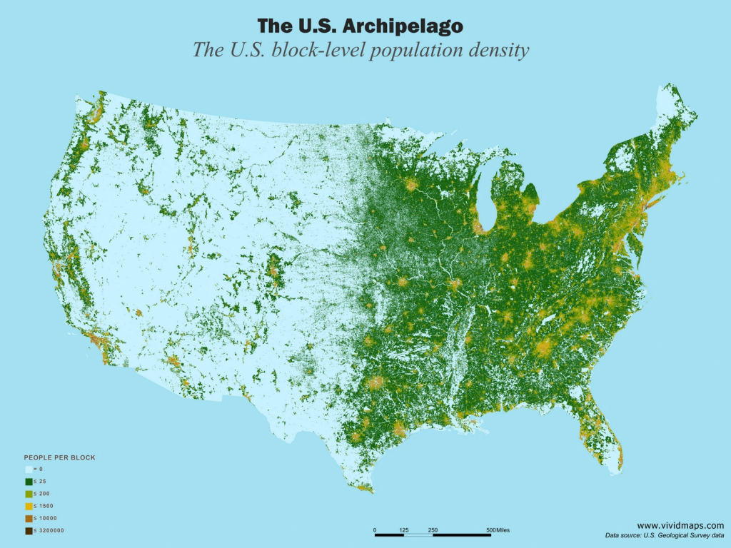 Map of the U.S. block level population density