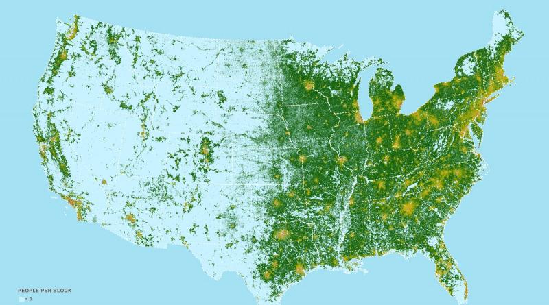 Map of the U.S. population density