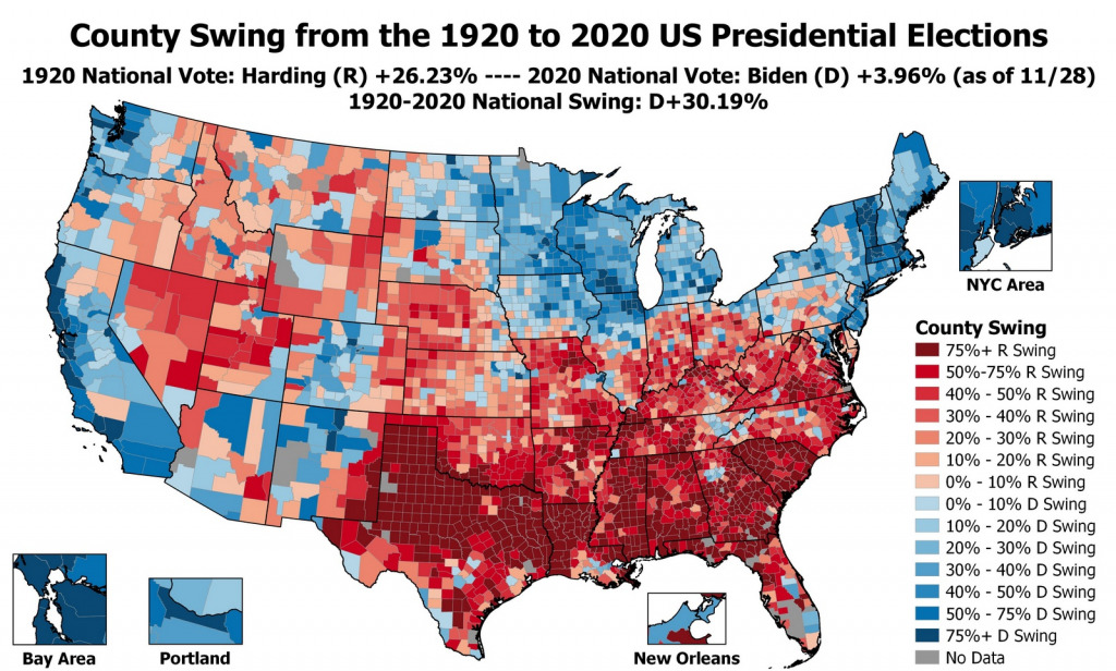 Map that shows every county voted this year and how they voted a century ago