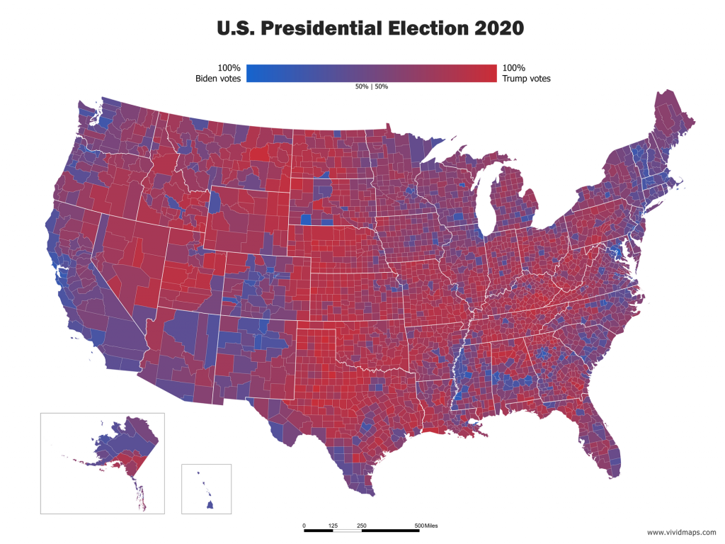 Choropleth unclassed blended hue map of U.S. Presidential election 2020