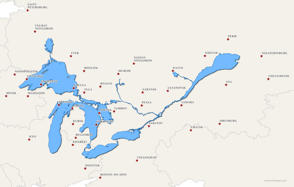 The Great Lakes and Saint Lawrence River superimposed on a map of Eastern Europe
