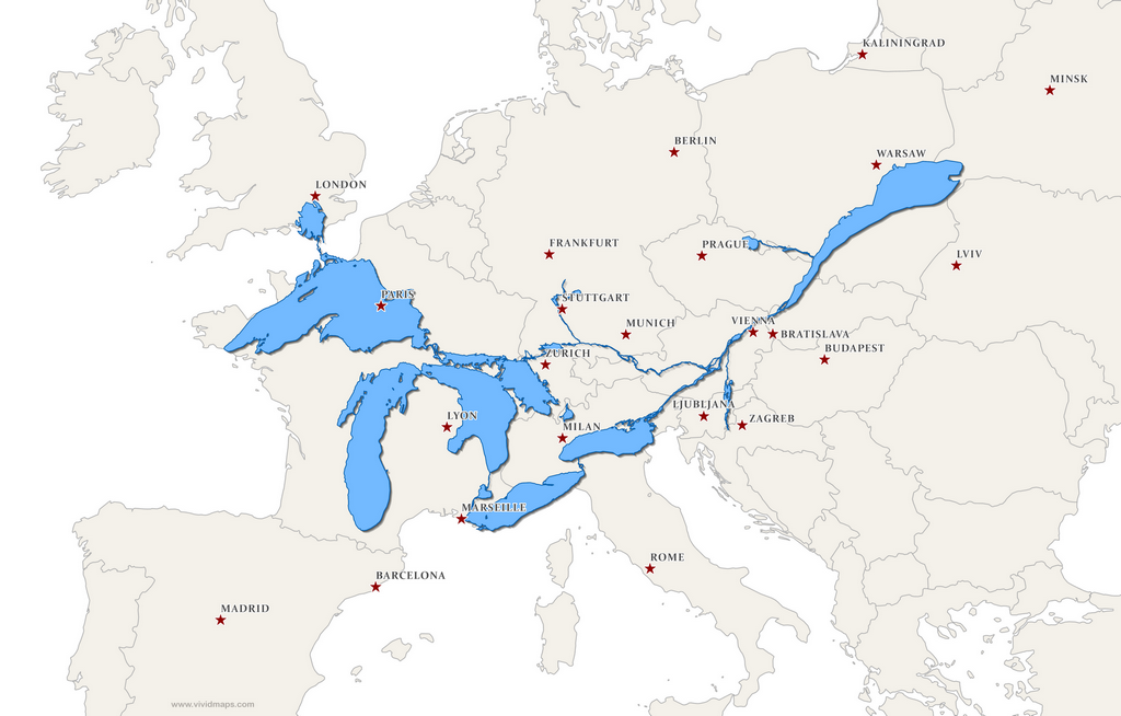 The Great Lakes and St. Lawrence River overlaid on a map of Europe