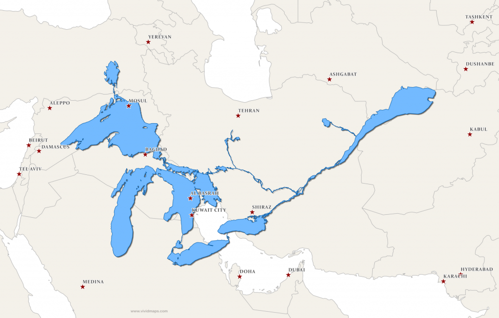 The Great Lakes and Saint Lawrence River superimposed on a map of the Middle East