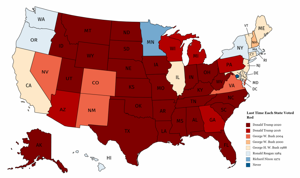 When did a state last vote for a Republican for President mapped