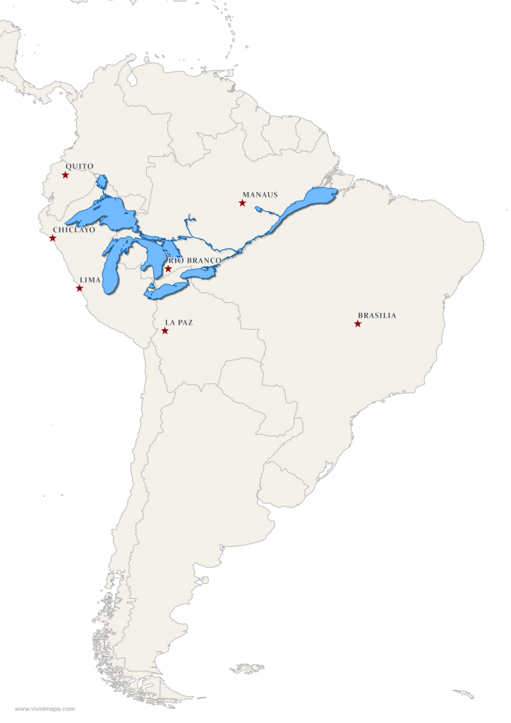 The Great Lakes and Saint Lawrence River superimposed on a map of South America