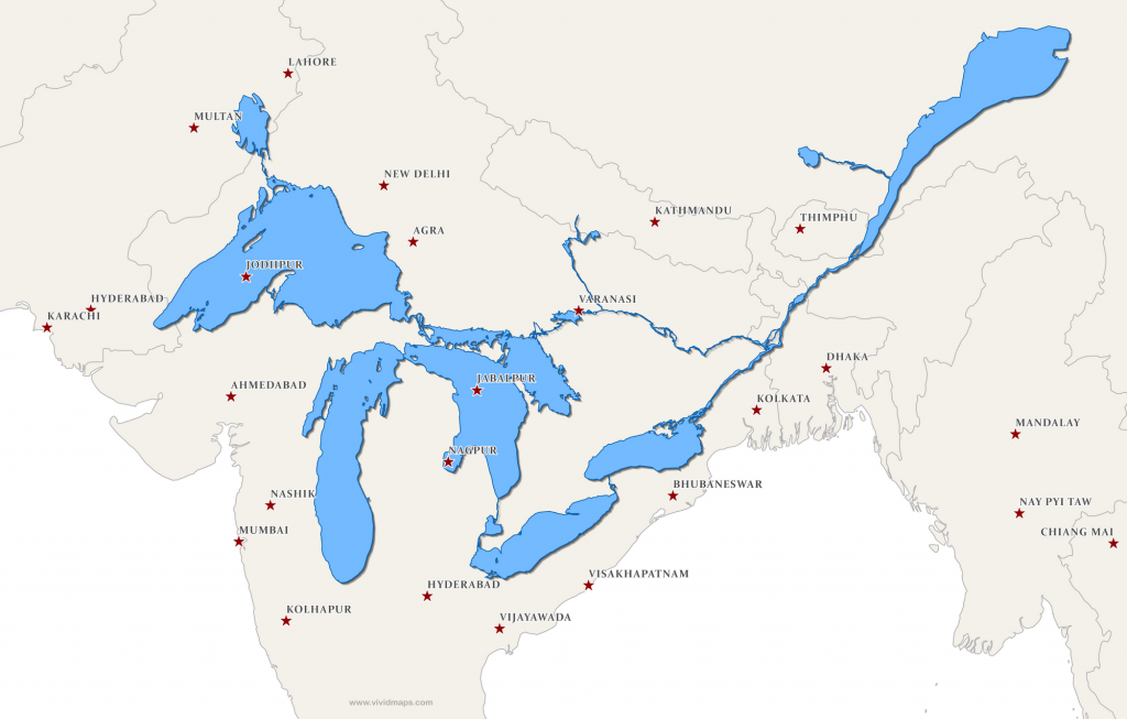 The Great Lakes and Saint Lawrence River superimposed on a map of South Asia