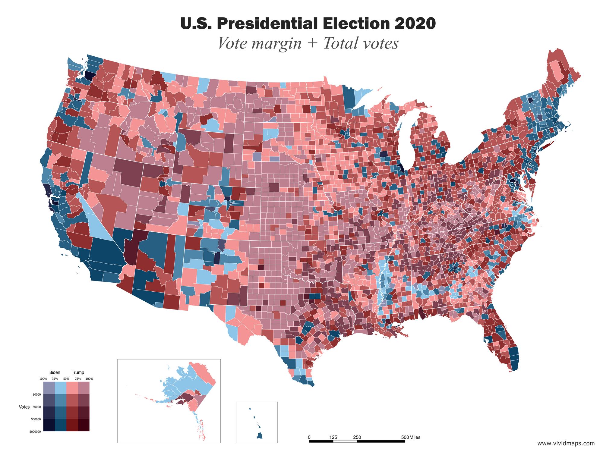 Map of U.S. Presidential Election 2020 (Vote margin + Total Votes)