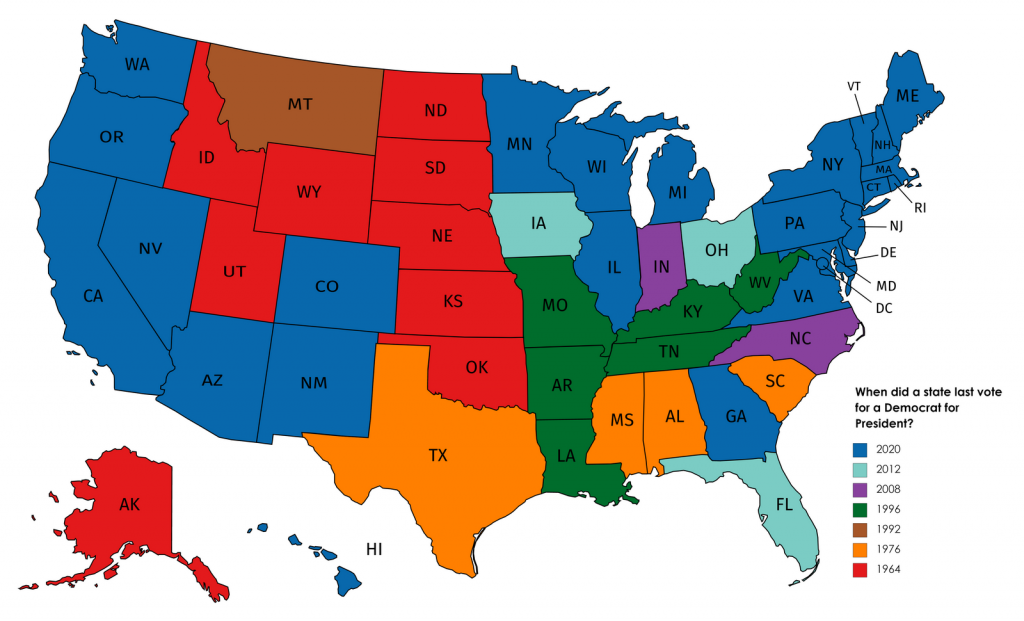 When did a state last vote for a Democrat for President mapped