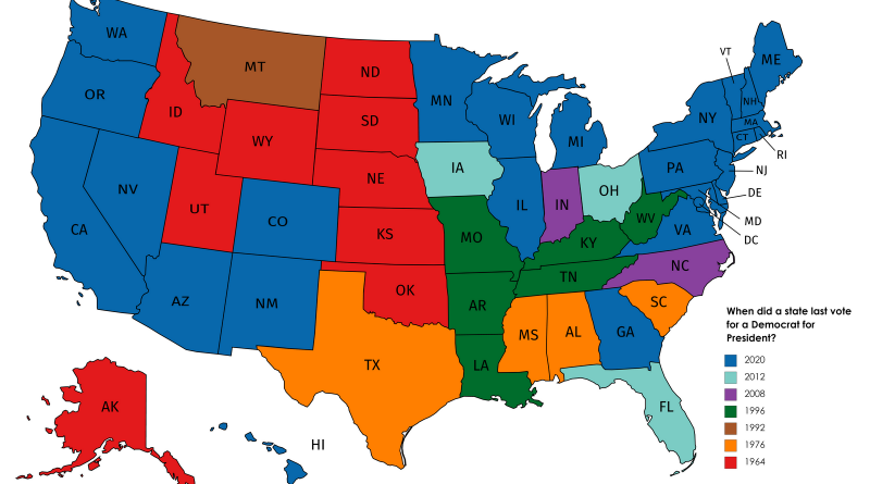 When did a state last vote for a Democrat for President?