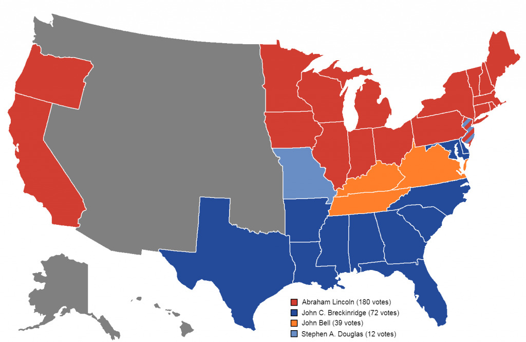 Map of how the 1860 U.S. election went