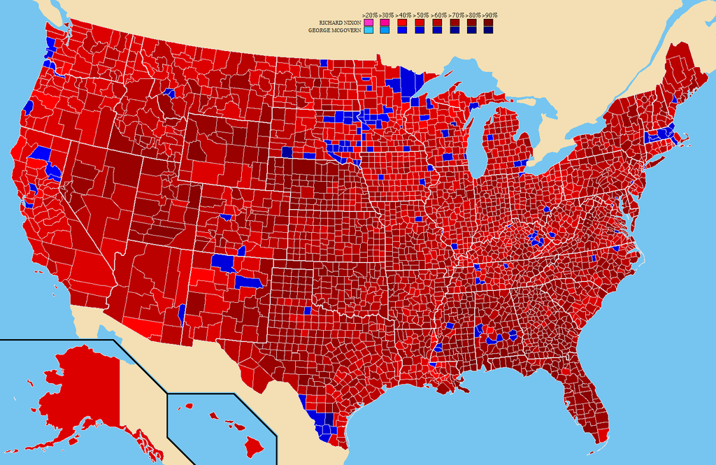 The map of the 1972 U.S. election margin of victor results by county