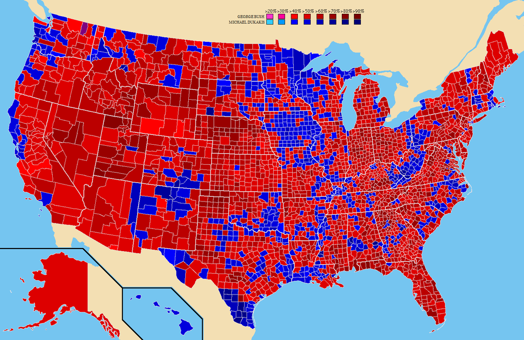 The map of the 1988 U.S. election margin of victor results by county