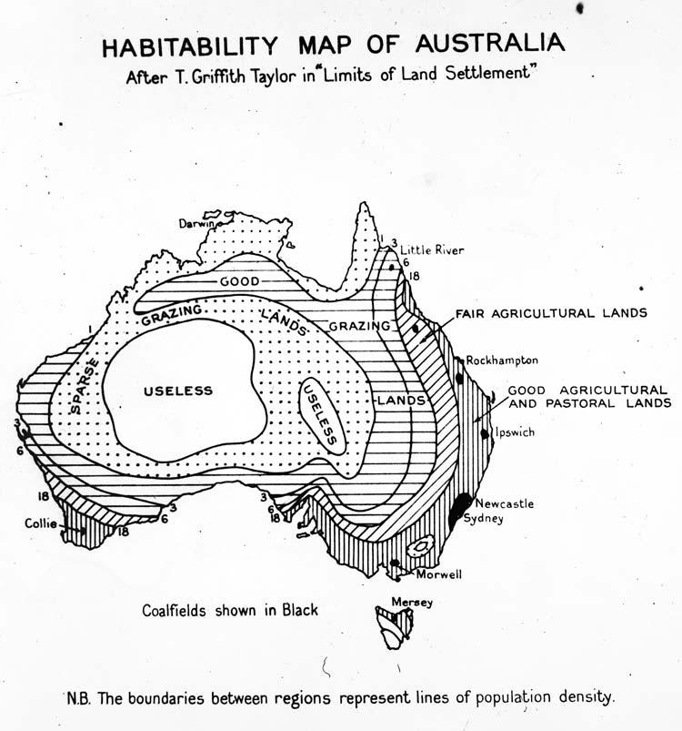 Habitability map of Australia from (1946)