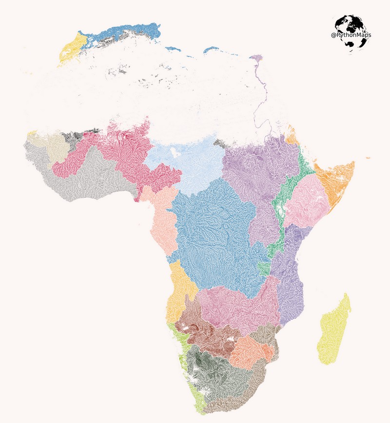 Map of rivers in Africa