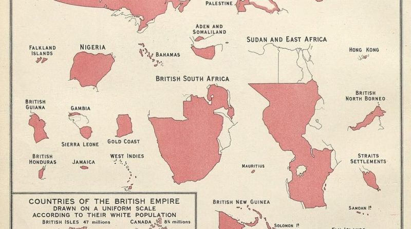 Map of the British Empire colonies