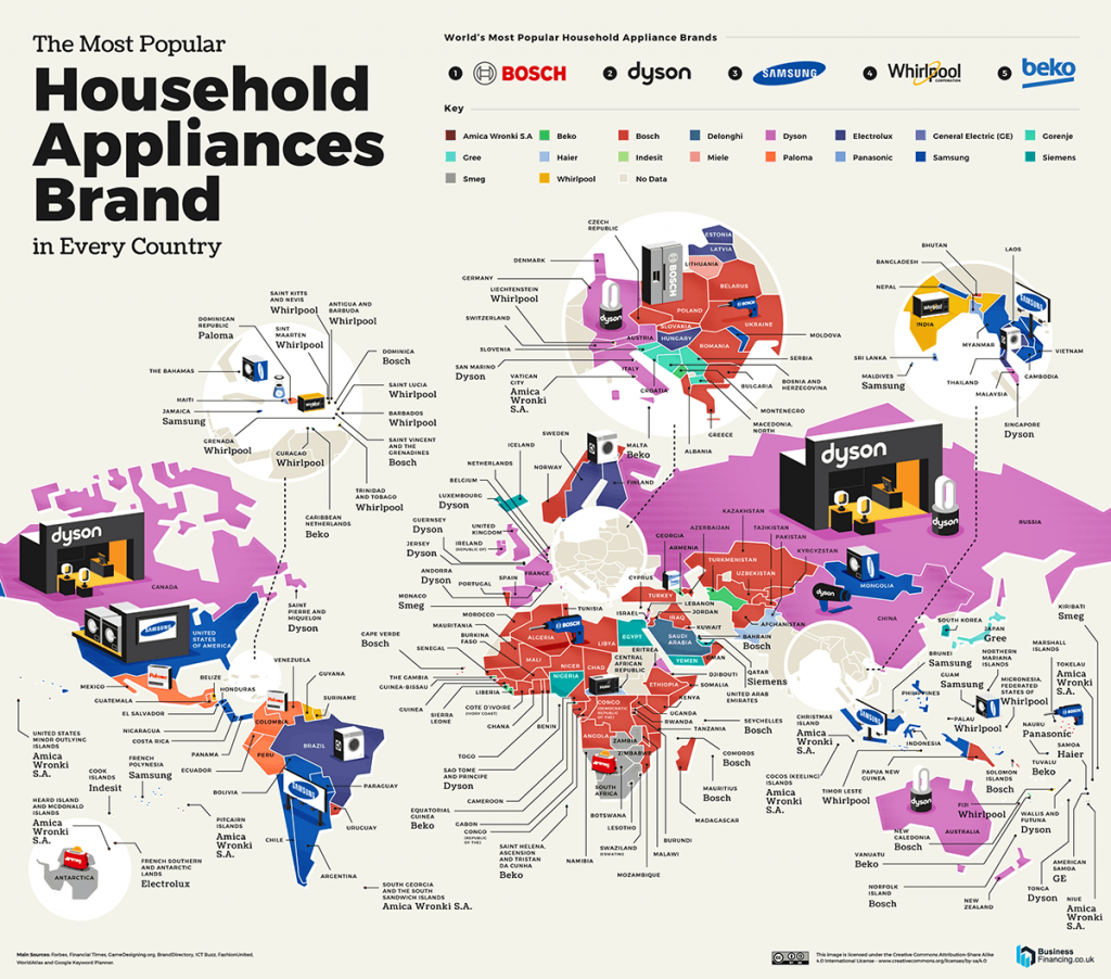 Map of The Most Popular Household Appliances Brand