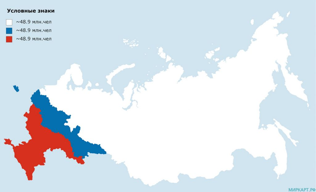 Map Russia divided by population