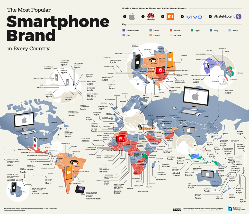 Map of the most popular smartphone brand in every country