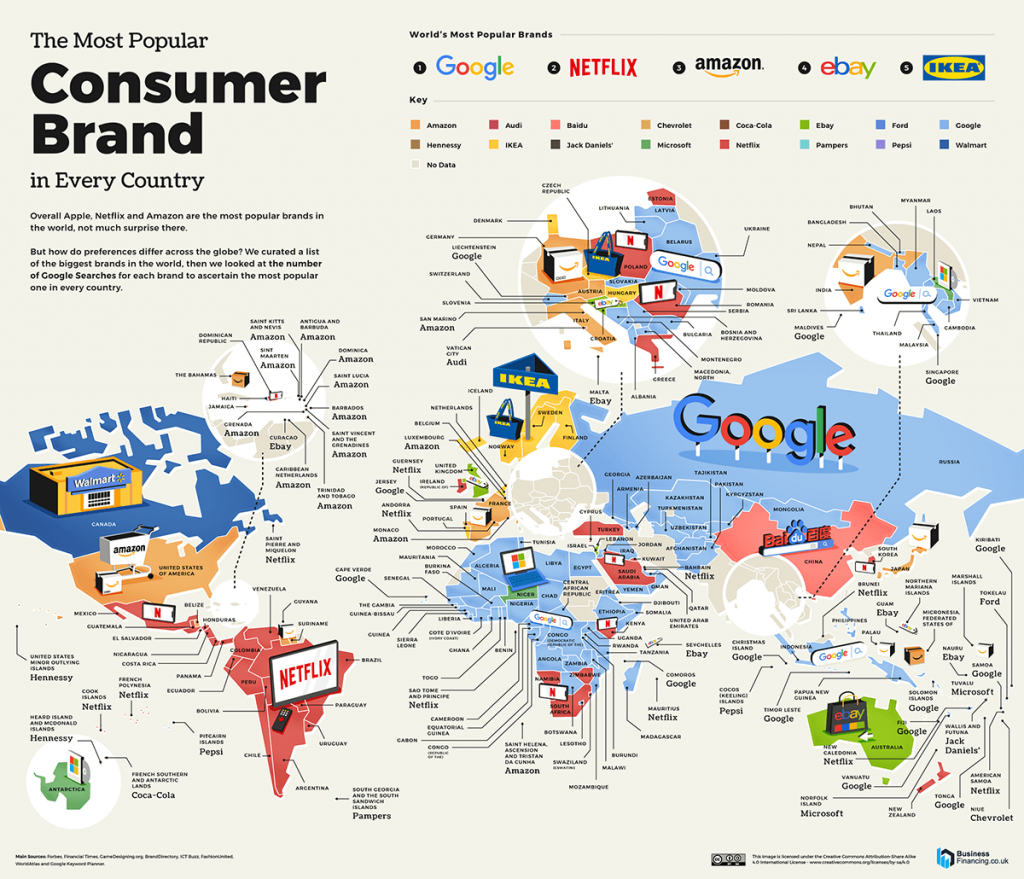 The map of the most popular consumer brand in every country