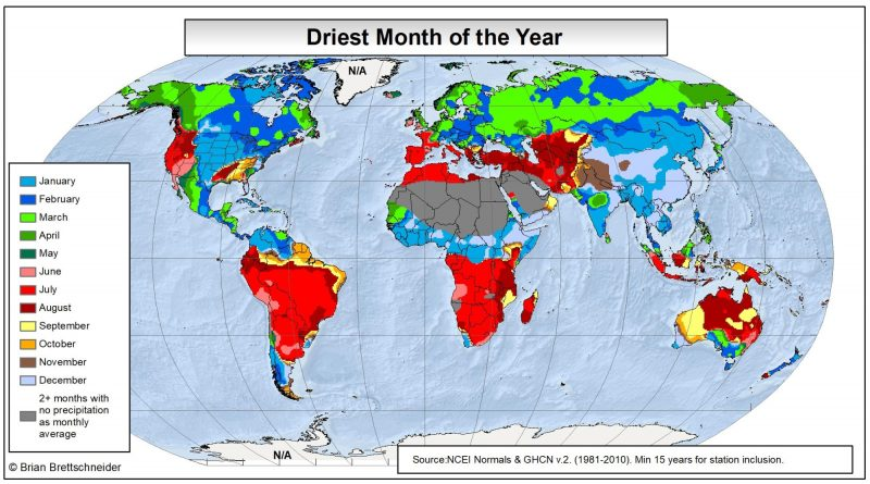 map of the driest month of the year