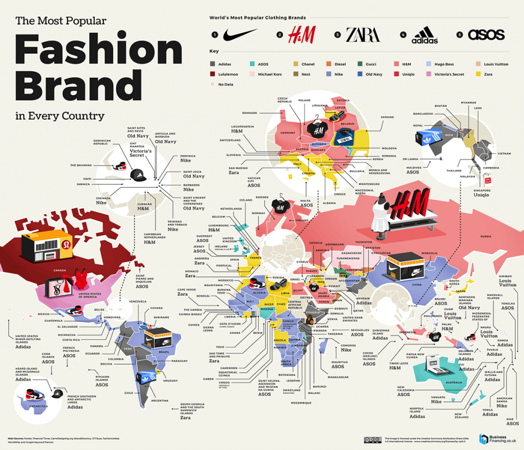 Map of the most popular fashion brand in every nation