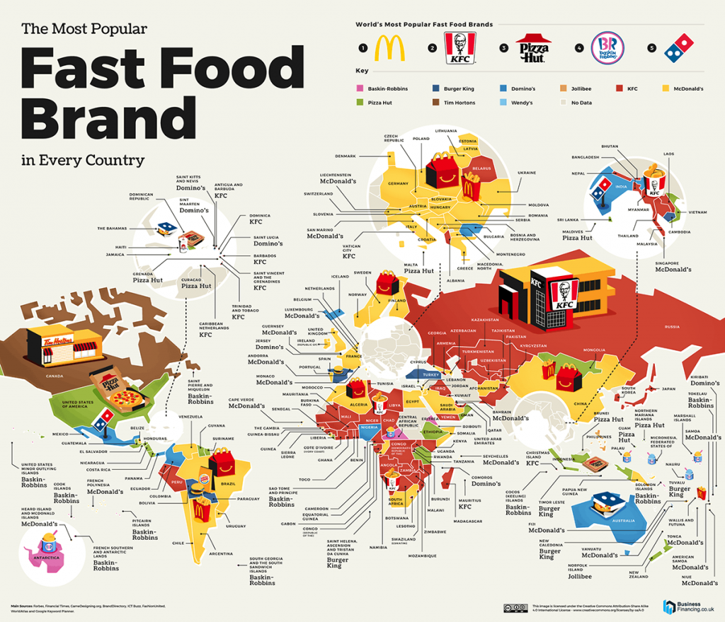 Map of the Most Popular Fast Food Brand in evert country