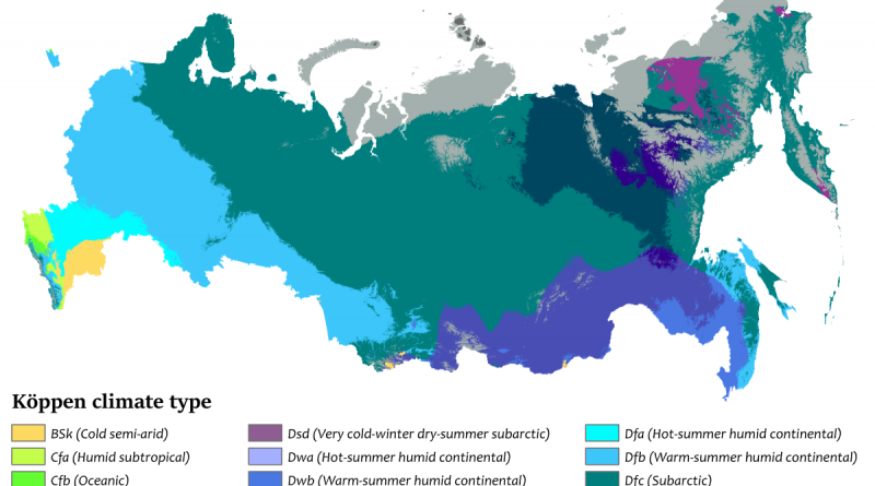 Köppen climate map of Russia