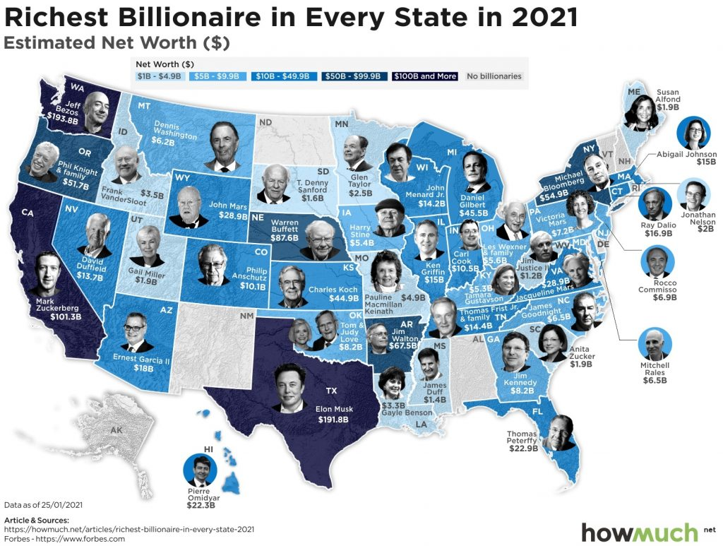 Map of the richest person in every US State in 2021