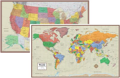 World and the U.S. Contemporary Elite 3D Two Wall Map Posters Set