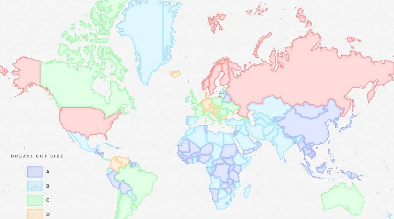 Map of average breast cup size