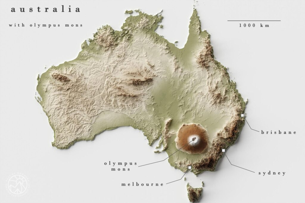 Map of Olympus Mons compared to Australia
