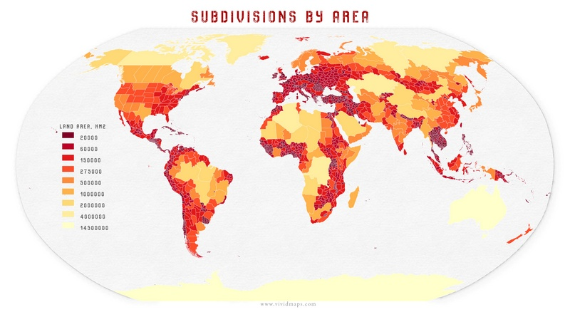 The map of subdivisions by area