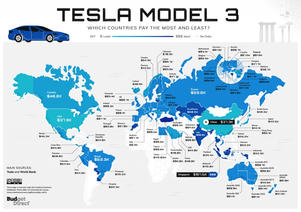Map of Tesla Worldwide Index Model 3