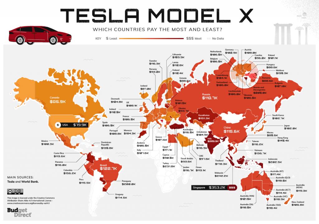 Map of Tesla Worldwide Index Model-X